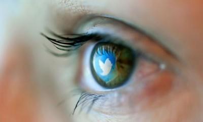 Reflection in an eye of logo from Twitter