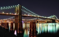 Brooklyn Bridge and Manhattan Bridge at Night, NYC