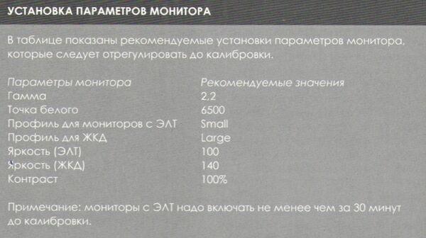 параметры монитора