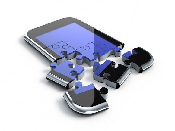 3D concept with smartphone puzzle