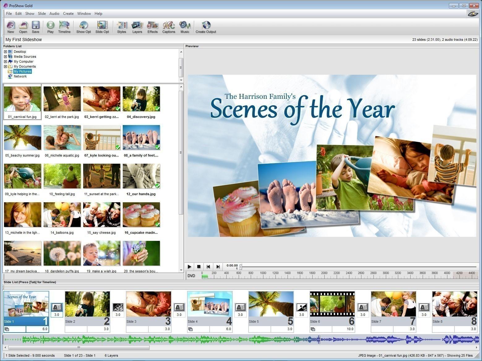 сделать слайд из фотографий онлайн: