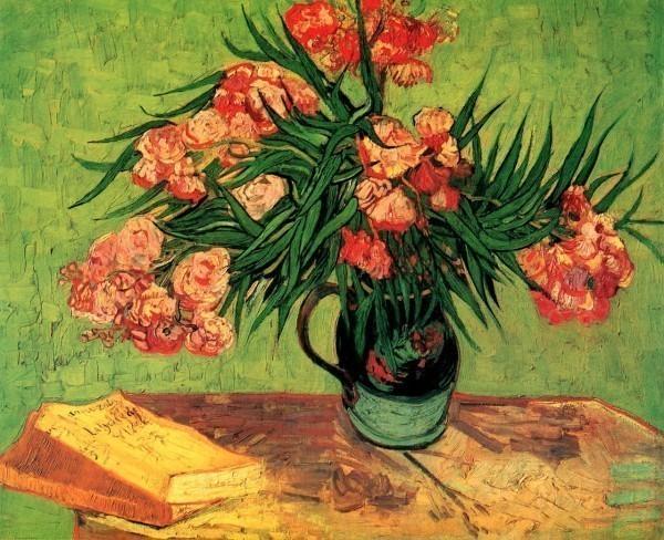 Натюрморт: ваза с олеандрами и книгами