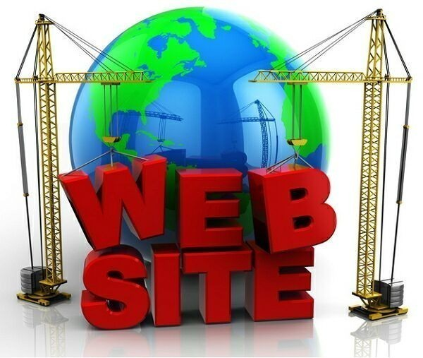 3d illustration of two cranes building 'web site' text, web design concept