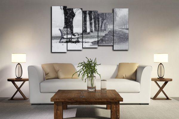Черно-белые модульные картины в стиле ретро