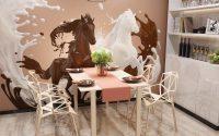 Актуальный дизайн стен кухни фотообоями