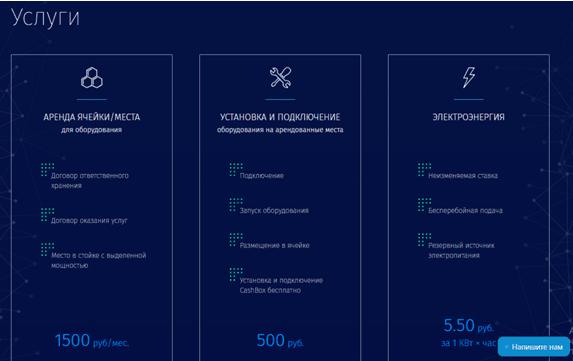 Перечень оказываемых Crypto Technology услуг и система тарифов