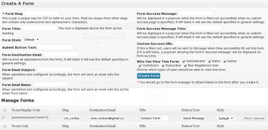 Custom Contact Forms - плагин контактная форма на WordPress