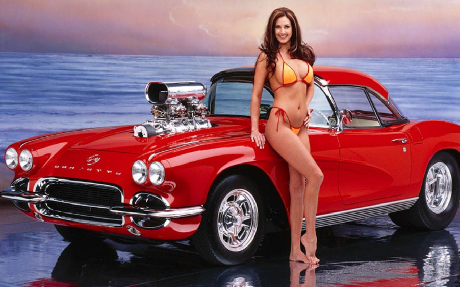 Nude muscle car babe seems